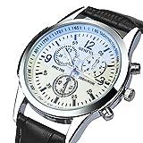 Men's Luxury Business Quartz Watch, Zaidern Fashion Analog Quartz Chronograph Wrist Watch with Brown Leather Band Retro Design Classical Wristwatches