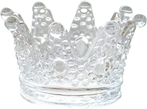 ZKKD Glass Crown Ashtray,Creative Desktop Smoking Ash Tray Home Office Decoration (Transparent Crystal Glass)
