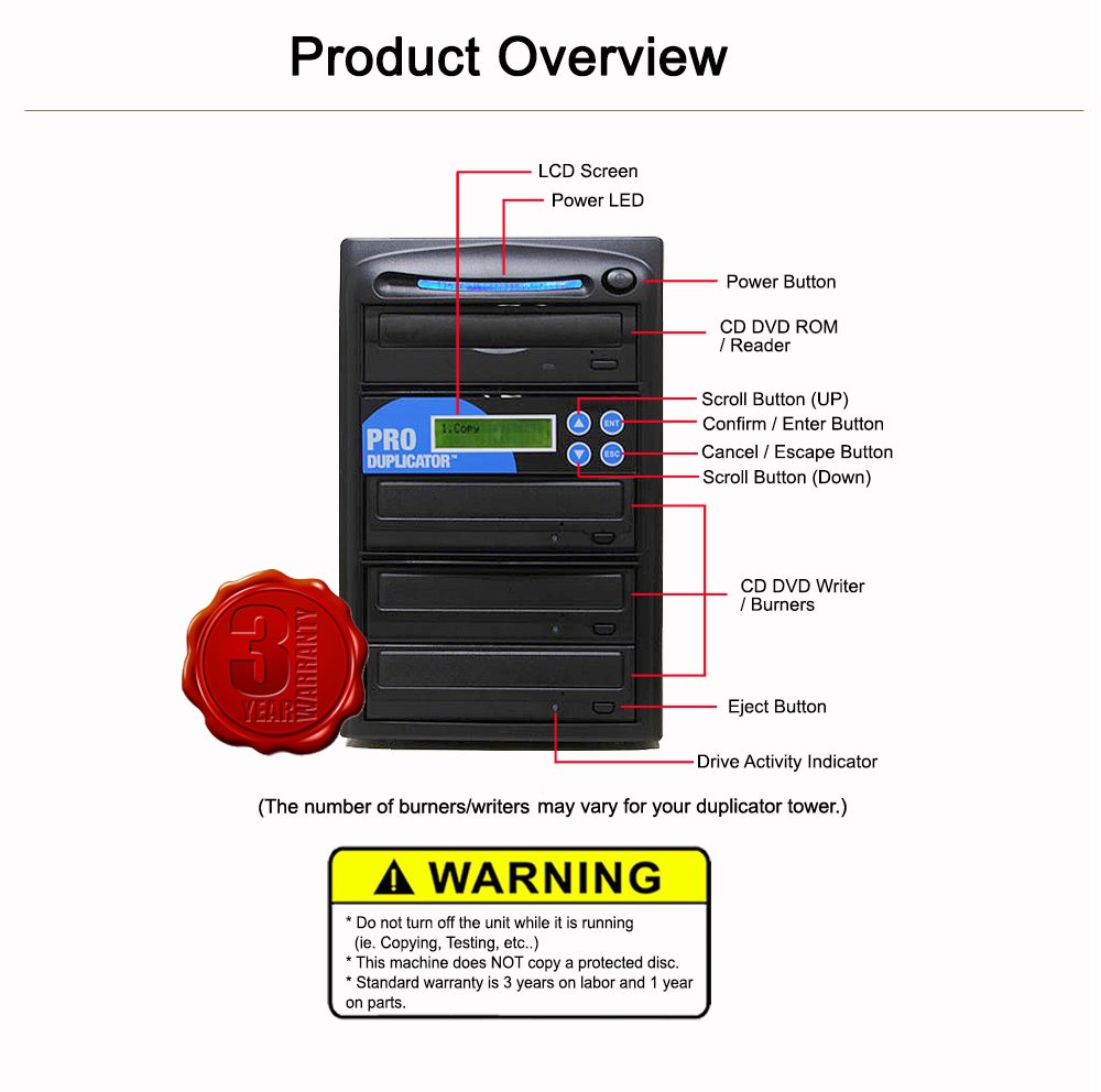 Produplicator 1 to 8 24X M-Disc Support CD DVD Duplicator Bundle with 1 Pack M-DISC, Nero Essentials Burning Software (Standalone Duplication Tower) by Produplicator (Image #4)