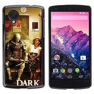 MOBMART Slim Sleek Hard Back Case Cover Armor Shell FOR LG Nexus 5 D820 D821 - Dark S0Ul Warrior - Funny