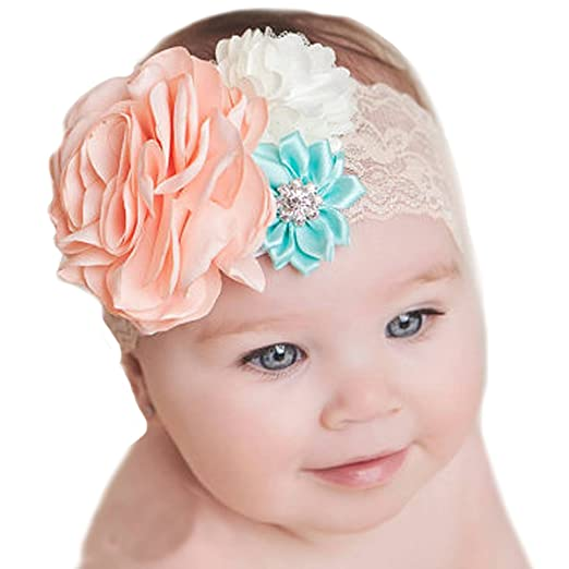 f245c5b052eab Image Unavailable. Image not available for. Color  Miugle Baby Girl s White  Lace Headbands with Flowers ...