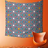 Home Decor Tapestry by Geometric Lines and Stars Based on Traditional Oriental Eastern Islamic Artistic World Past Wall Hanging for Bedroom Living Room Dorm