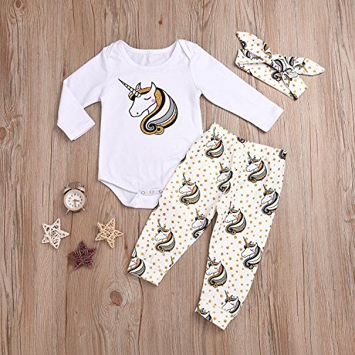 HappyMA Infant Baby Girl Romper Long Sleeve Bodysuit Tops Unicorn Printed Pants and Headband Outfit Clothes Set (6-12 Months)