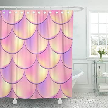 Emvency Waterproof Shower Curtain Curtains Fabric With Hooks Mermaid Fish Scale Holographic Effect Iridescent Rose Gold