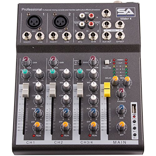 Seismic Audio - Slider4-4 Channel Mixer Console with USB Interface by Seismic Audio