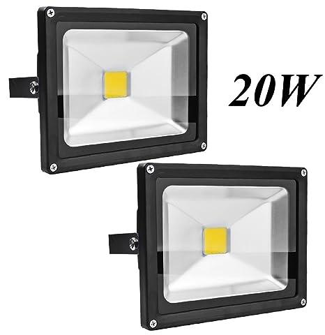 2X 20W Luz Foco Proyector LED Blanco Calido Foco Exterior Foco de ...