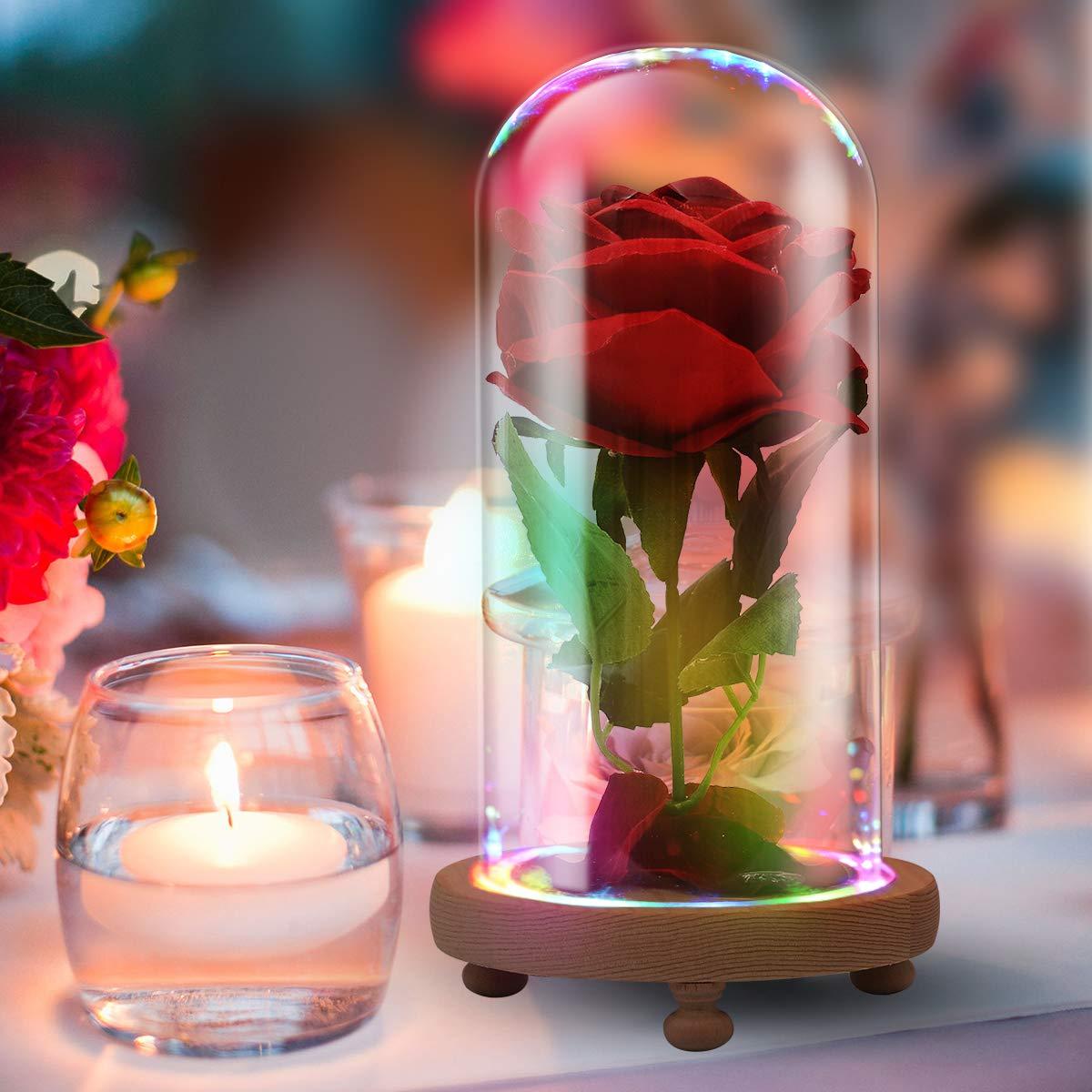 La Bella y la Bestia Red Velvet Rose Lámpara LED de Colores en cúpula de Cristal, Regalo romántico para Mujeres y niñas, diseño de película, Regalos de Fiesta, decoración de Boda