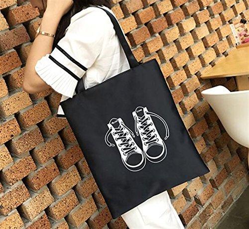 Bandoulière Shopping Sacs Simple Toile À Pour Handbag Femme File En Sac Black Fourre tout qqtFwPHI