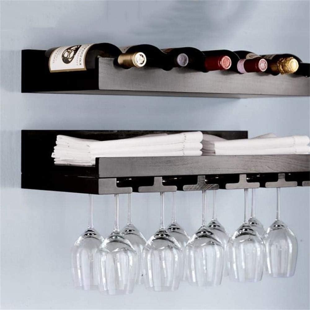 ワイン愛好家バー家具& ホームバーの家具2階層60センチメートルウォールは、ストレージシェルフワインボトルホルダーウォールデコレーションユニットは、棚(:ホワイト色)を吊るすワインはナチュラルパインウッドウォールラックマウント (Color : Black)