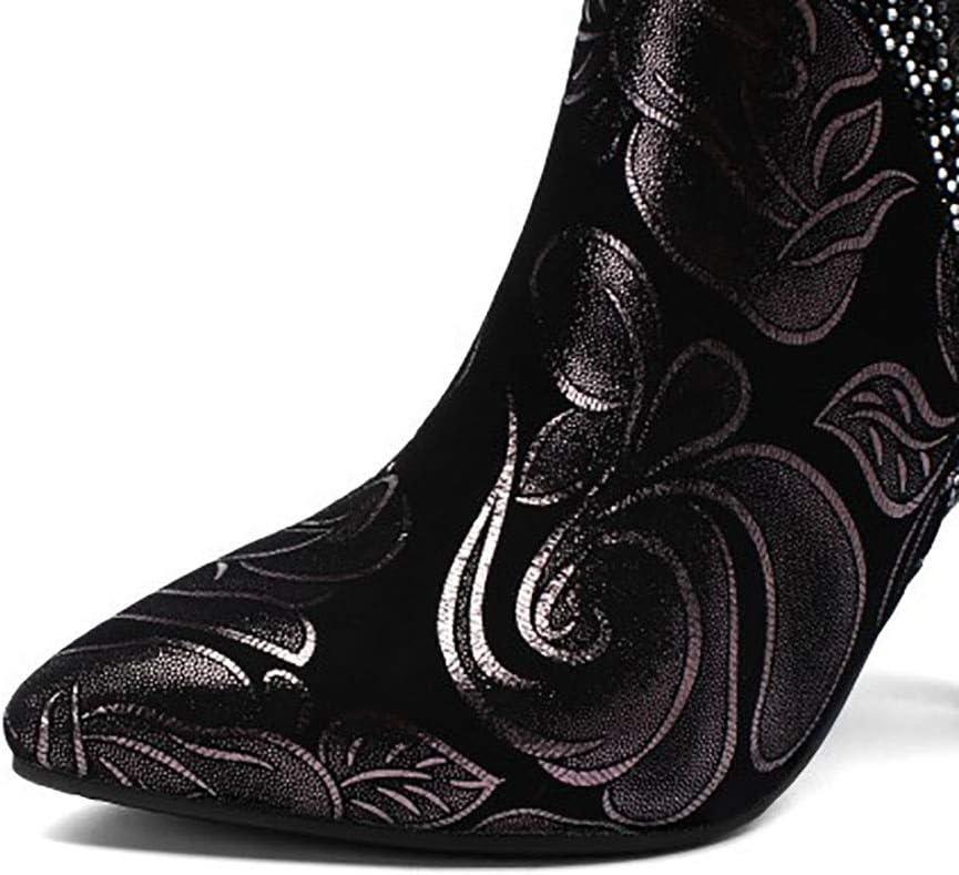 Stzker Bottillons en Cuir Femme Bottes Pointues De Femmes Talon Aiguille Fourrure De Lapin Bottes for Femmes Haut Talon Chaussures De Fourrure Plus De Velours Black 8.5CM
