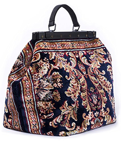 Carpet Bag SAC-VOYAGE Blossom Navy - Magical Mary Poppins Vintage-Style Carpet Bag with leather handle and detachable - Carpet Handmade