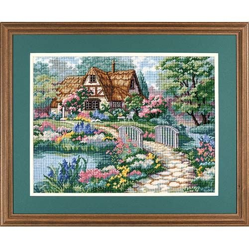- Dimensions Cottage Retreat Needlepoint Kit, 16'' W x 10'' H