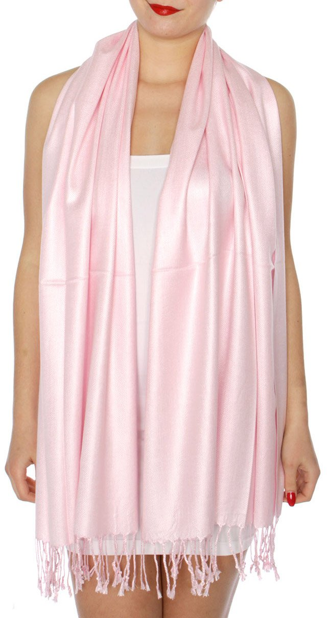 SERENITA Women's Silky Solid Pashmina Style 32 L Pink, One Size by SERENITA (Image #2)