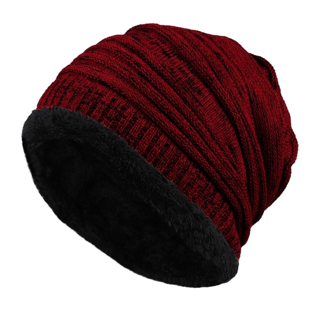 71074ec7f279d Amazon.com  Elogoog Fleece Lined Beanie Hat Mens Women Winter Warm Knit Ski  Skull Caps (Black)  Sports   Outdoors