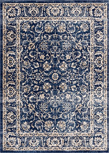Well Woven Essex Blue & Beige Vintage Traditional Persian Oriental Sarouk Area Rug 5 x 7 (5'3