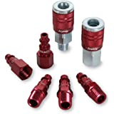 ColorConnex Coupler & Plug Kit (7 Piece), Industrial Type D, 1/4 in. NPT, Red - A73457D