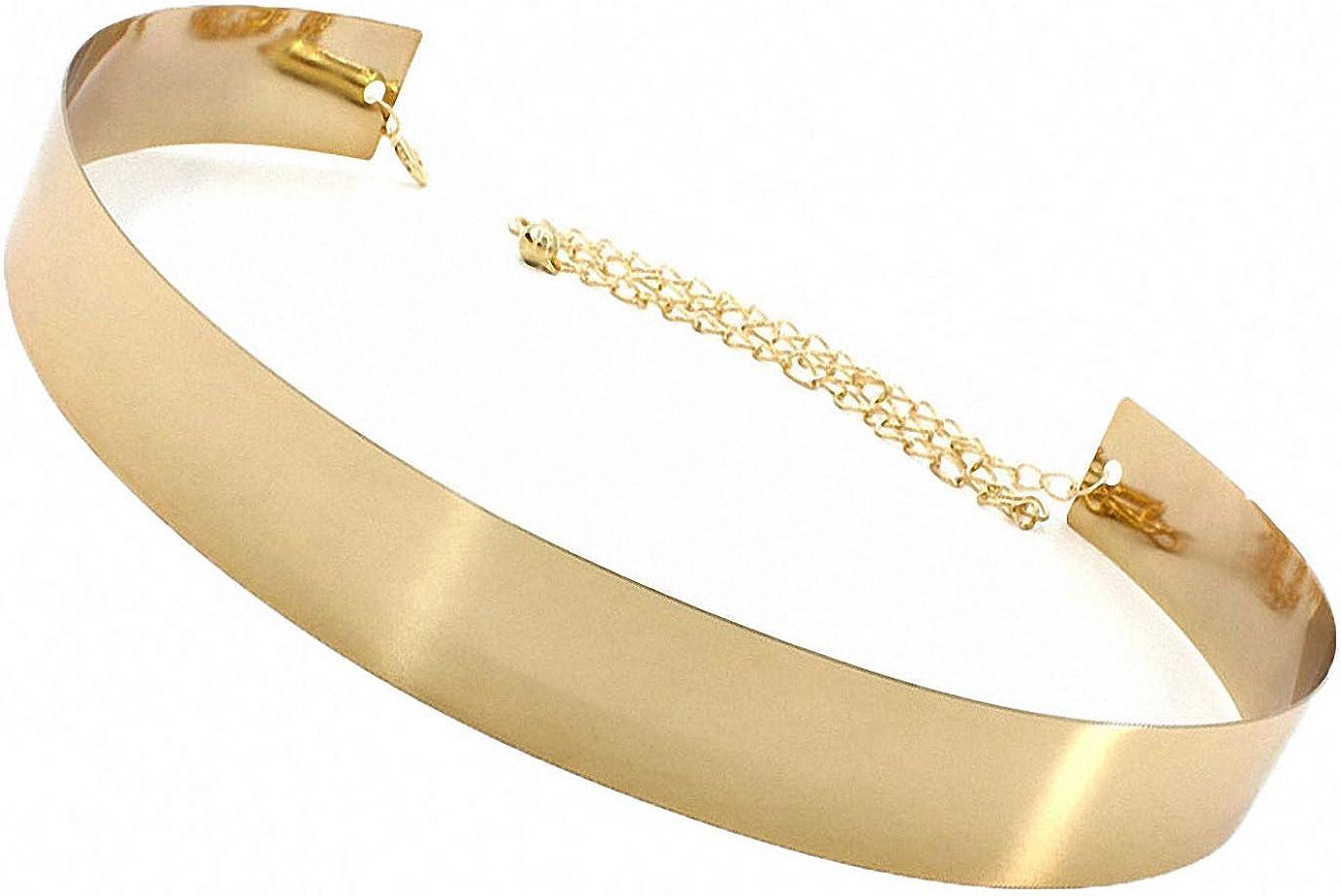 Cinturón de metal para mujer, elegante, con placa de espejo, para mujer, con diseño de cadena