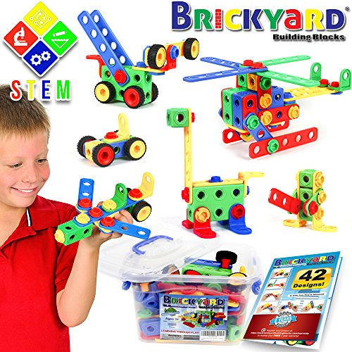 163 Piece STEM Toys Kit, Educational Construction Engineering Building Blocks Learning Set for Ages 3 4 5 6 7 8 9 10 Year Old Boys & Girls by Brickyard, Best Kids Toy, Creative Games & Fun Activity -
