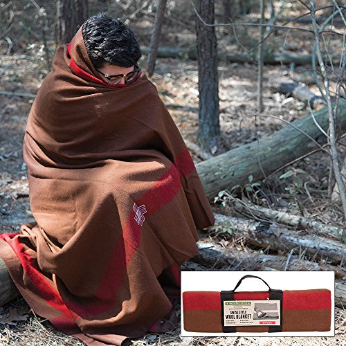 Mil-Spec Adventure Gear Plus MSA02-7957018000 Swiss Style Chestnut Blanket with Accent Stripes, Brown/Red by Mil-Spec Adventure Gear Plus