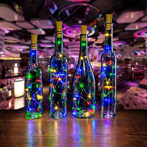 Bottle Led Lights, AGPtek 6 Pack of Bottle Mini String Lighting 30in Copper Wire Cork Shape Light Starry Light for Christmas/Wedding/Party/Halloween/Decoration - RGB Multi Color