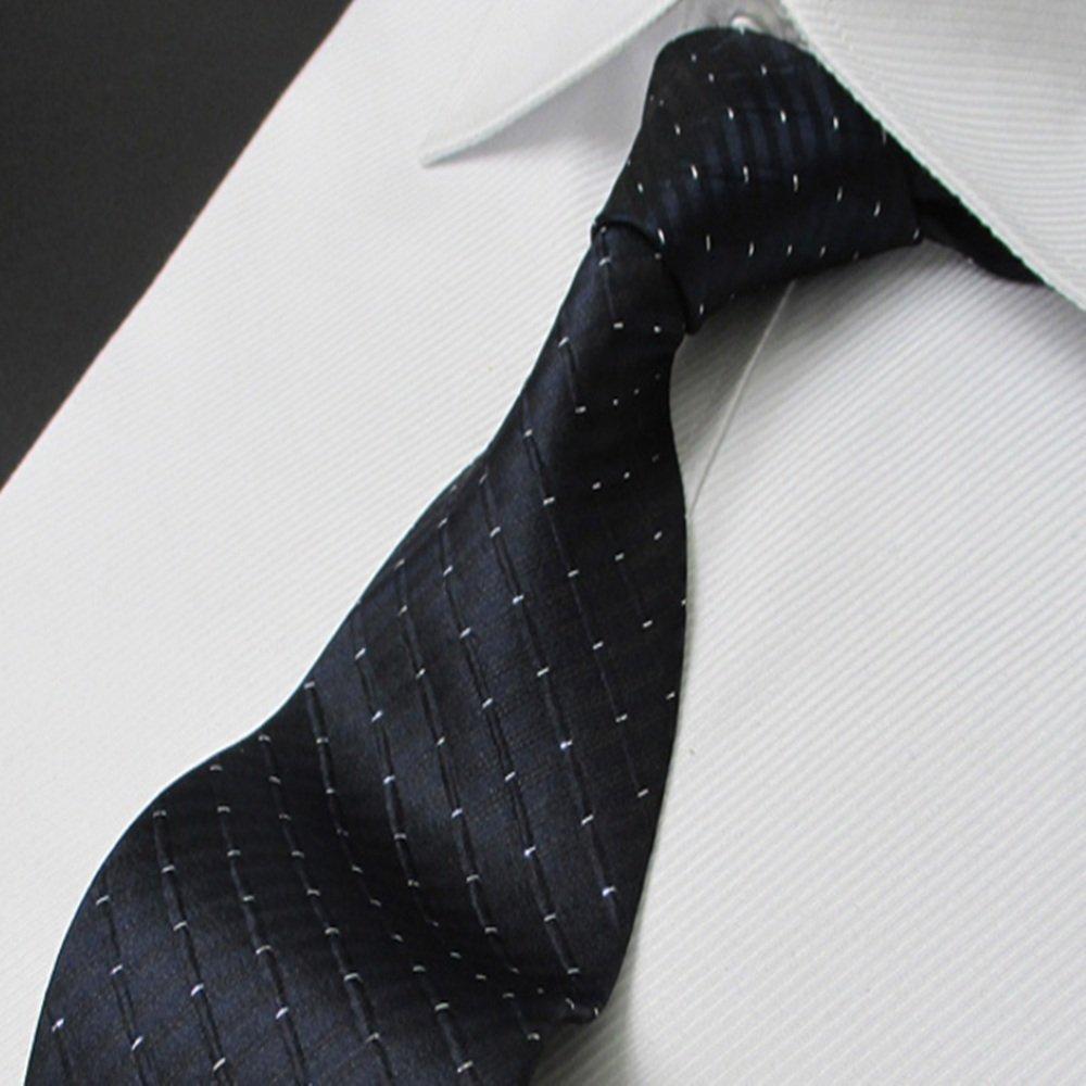 MIAOMIAOWANG Corbata de Seda para Hombre Patrón de Rejilla Azul ...