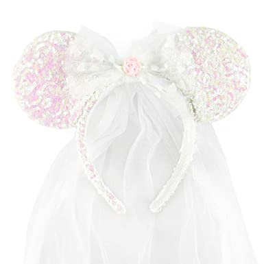 Disney Park Exclusive Minnie Mouse Ears Headband Wedding Veil ... c5ae99fe366