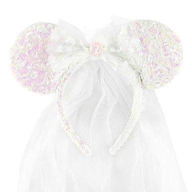 Disney Park Exclusive Minnie Mouse Ears Headband Wedding Veil ... c5ae99fe366