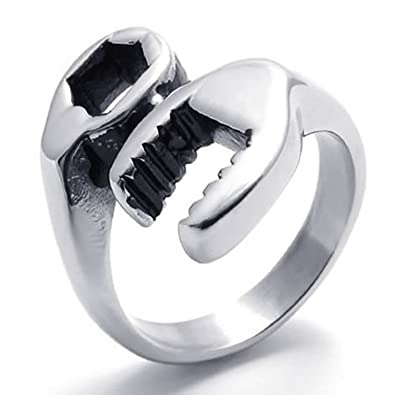 Buytra Jewelry Mens Stainless Steel Biker Mechanic Wrench Tool Ring