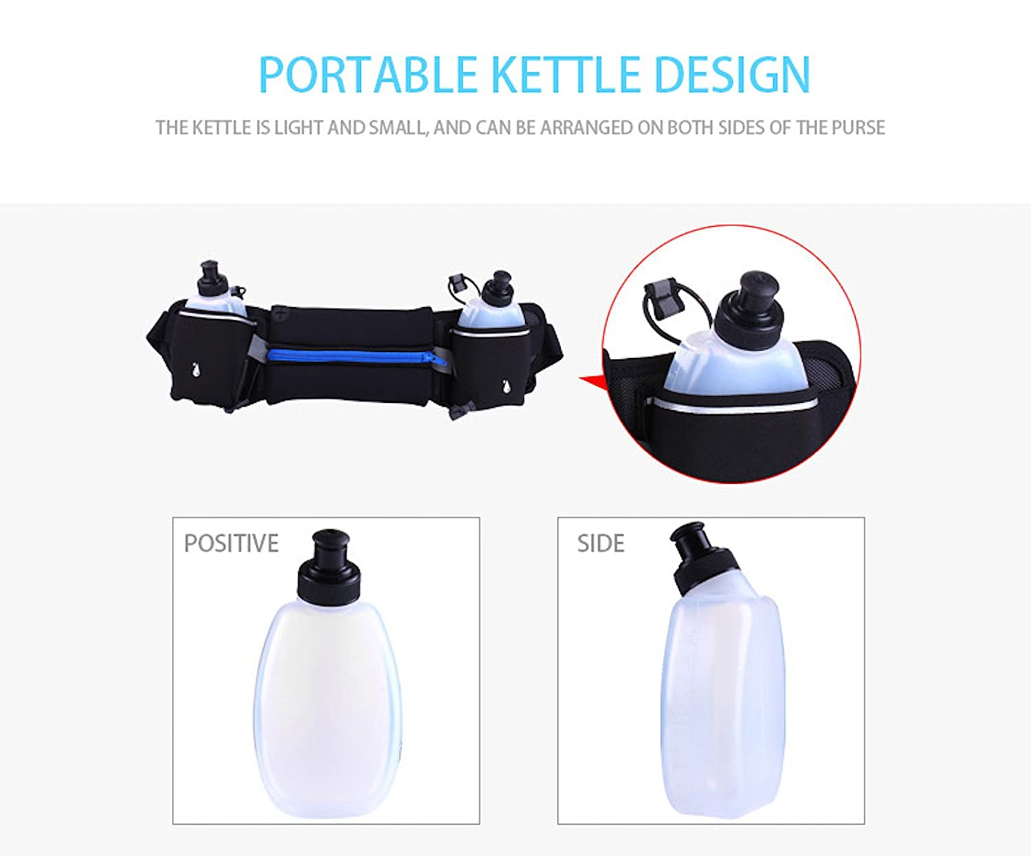 2 Water Bottle Running Pouch Belt Smartphone Mobile Phone Size Below 6 inch Marathon Fitness Jogging Cycling Traveling Waterproof with Headphone Hole Elonglin Adjustable Hydration Running Belt
