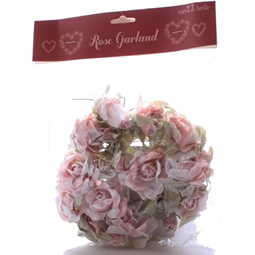 Sass & Belle Artificial rosa Rose decorativo con cable guirnalda navideña ~ Shabby Chic