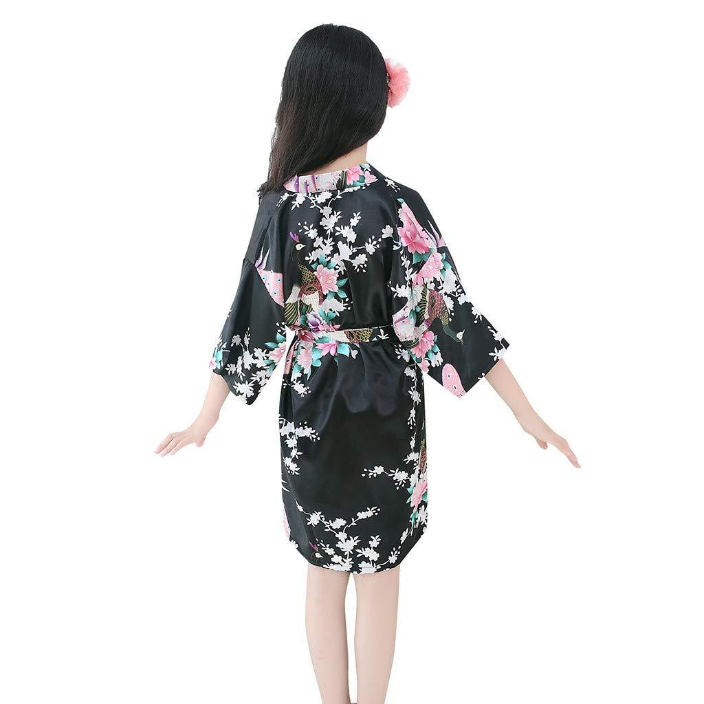 Teen Kids Toddler Baby Girls Boys Soft Floral Silk Satin Kimono Robes Pajamas Bath Cloak Hydrophil Bathrobe Clothes