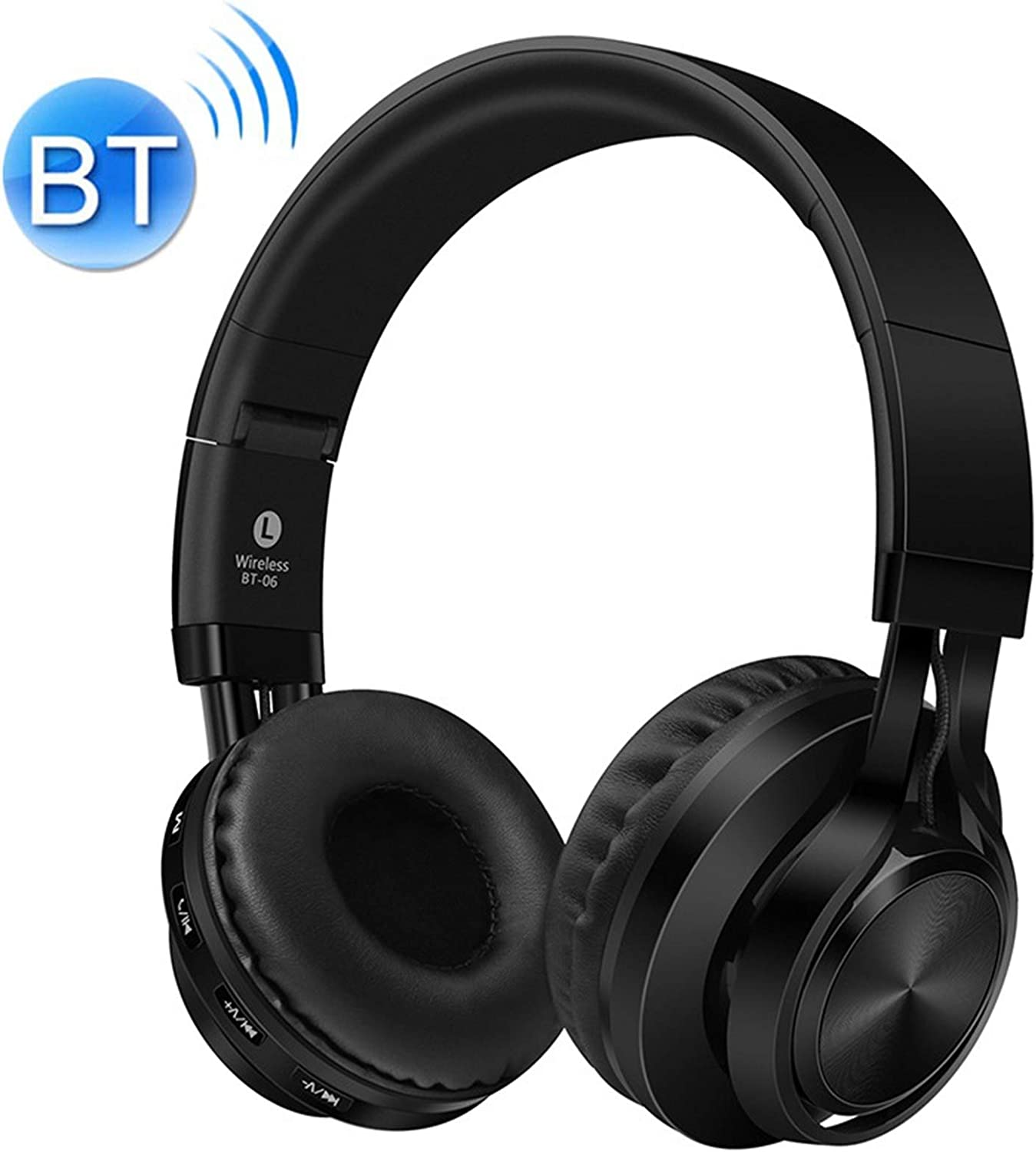 POPUPE BT-06 Over-Ear Wireless Headphones Adjustable Foldable Bluetooth Headset with Mic (Black)