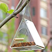 Acrylic Bird Feeder can be Hung With Suction Cup with Wooden Handle Garden Outdoor Triangle Transparent Bird Feeder can be Attached to the Window to Feed Wild Birds