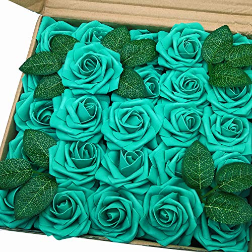 J-Rijzen Jing-Rise Artificial Roses 50pcs Real Touch Teal Green Foam Flowers with Stem for Bride Bridesmaids Bouquets Baby Shower Centerpieces Table Flowers Wedding Arch Decorations (Teal Green) (Teal Green Roses)