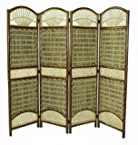 D-ART COLLECTION Seagrass Tropical 4-Panel Screen Divider
