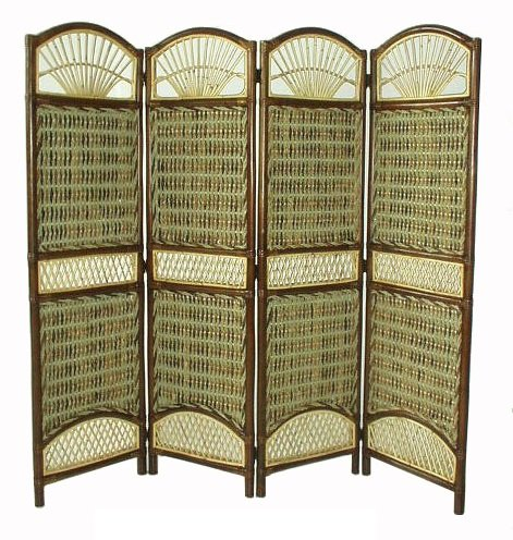 D-ART COLLECTION Seagrass Tropical 4-Panel Screen Divider by D-Art Collection