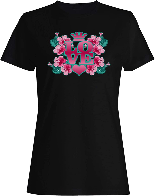 Love Queen Flowers Pink Ladies T-Shirt Tee gg909f