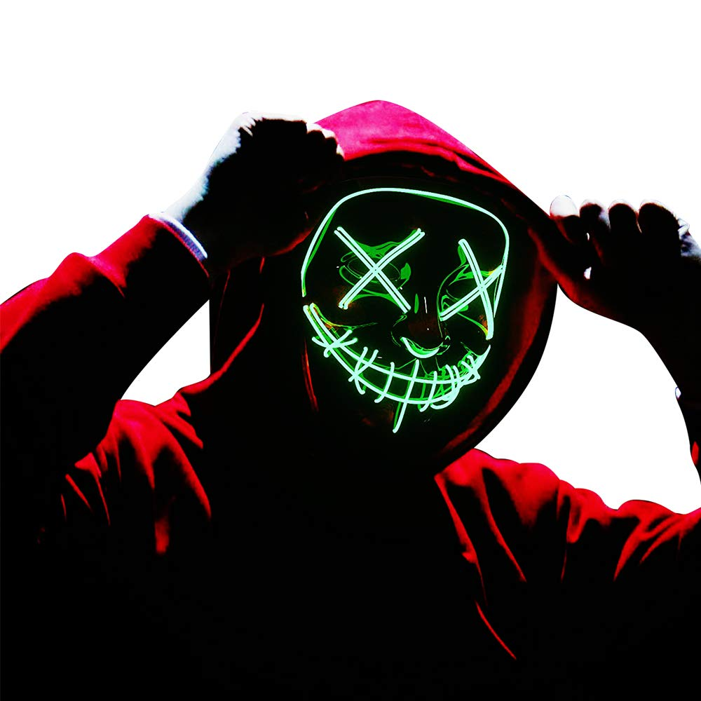 LED Mask Purge Halloween Scary Mask Cosplay Led Costume Mask EL Wire Light up for Halloween Festival Party Green by Brainfella