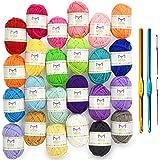 Mira Handcrafts 24 Acrylic Yarn Bonbons | Total of 525 yards Craft Yarn for Knitting and Crochet | Includes 2 Crochet Hooks, 2 Weaving Needles, 7 E-books | DK Yarn | Perfect Beginner Kit