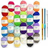Mira Handcrafts 24 Acrylic Yarn Bonbons | Total of 525 Yards Craft Yarn for Knitting and Crochet | Includes 2 Crochet Hooks, 2 Weaving Needles, 7 E-Books | DK Yarn | Perfect Beginner Kit