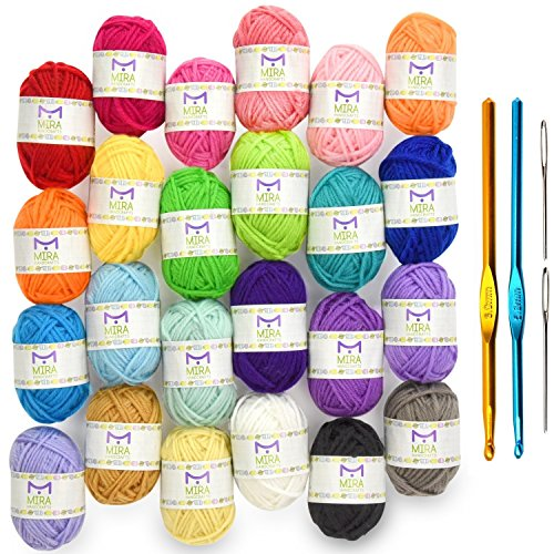 (Mira Handcrafts 24 Acrylic Yarn Bonbons | Total of 525 Yards Craft Yarn for Knitting and Crochet | Includes 2 Crochet Hooks, 2 Weaving Needles, 7 E-Books | DK Yarn | Perfect Beginner Kit)