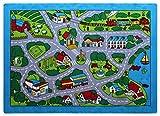 Kids Area Rug - Street Map Grey Design (7 Ft. 4 In. X 10 Ft. 4 In.)