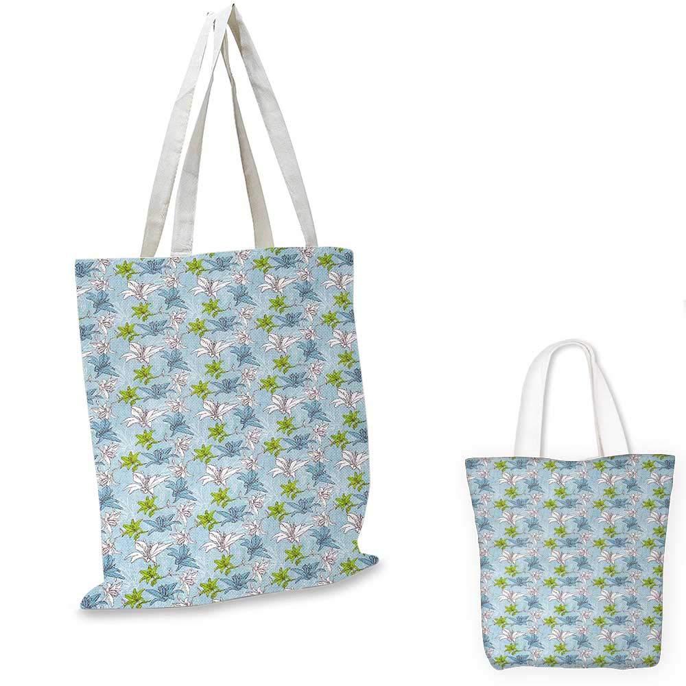FloralLily ブーケ柄 ブロッサミング イラスト ヴィンテージ インスピレーション シーン グリーン ブルー ホワイト 13