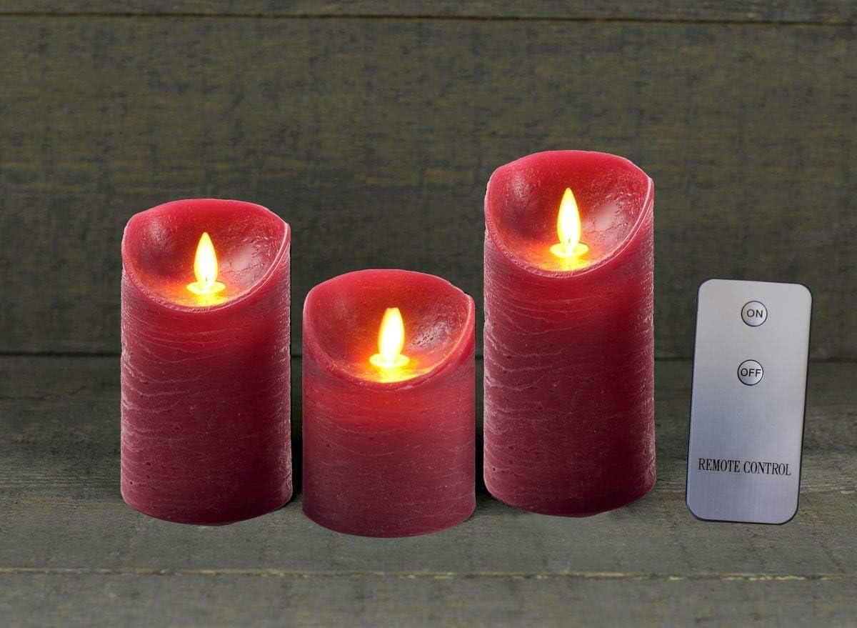 12,5 cm Farbe:Gold 15 cm Kerze /Ø 7,5 cm flackender Docht Kerzen Coen Bakker 3er Set Kerze LED Echtwachskerze mit Fernbedienung Wachskerze viele Farben 10 cm