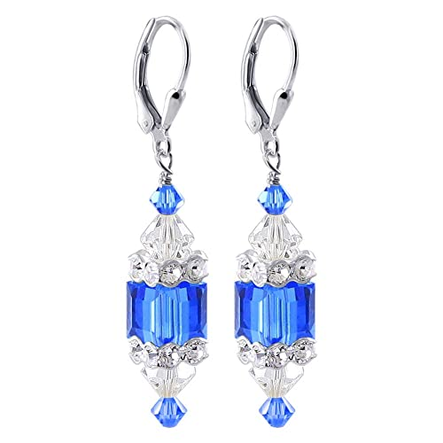 52e78734e Image Unavailable. Image not available for. Color: 925 Sterling Silver Blue  Cube & Clear Crystal Drop Earrings Made with Swarovski Elements