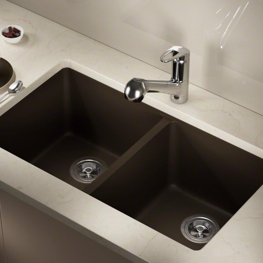 Beige 802 Double Equal Bowl Quartz Kitchen Sink Strainer//Flange