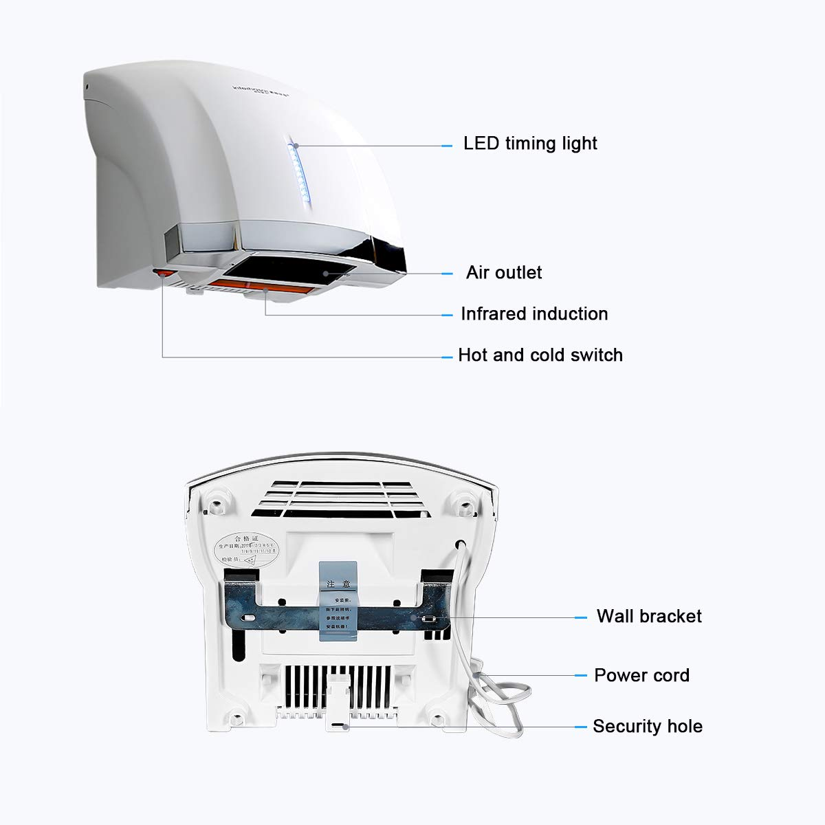 interhasa Easy to Install for Lavatory Bathroom.Low Noise 50dB,Intelligence Sensing System Hand Dryer Commercial,Powerful 1800W with Timing Progress Light Color:White Wall Mounted Hand Dryer