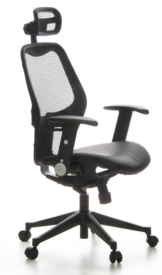 HJH Office AIR-PORT Silla de oficina Negro (piel) 48.0x59.0x117.0 cm
