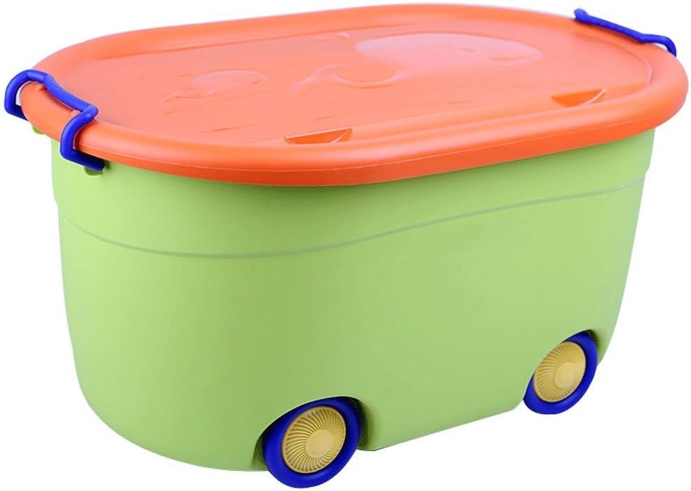 Contenedor de juguetes para niños, caja de almacenamiento de plástico, caja de meriendas para ropa, caja de almacenamiento de la rueda de la correa (Color : Green): Amazon.es: Hogar