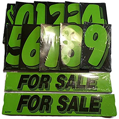 Vinyl Number & For Sale Decals 13 Dozen Car Lot Windshield Pricing Stickers (Black & Green): Automotive